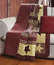 HOMESTEAD RED BARN STAR THROW : COUNTRY CABIN LODGE BURGUNDY PLAID QUILT BLANKET