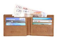 STARHIDE Mens RFID Blocking Distressed Hunter Brown Genuine Leather Wallet 1145
