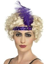 Purple Sequin & Feather Flapper Headband Fancy Dress 1920s Costume Accessory