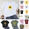 Womens Basic Blouse Short Sleeve Casual Tops Summer Sunflower T-shirt Print Tees