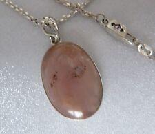 "Sterling Pendant 24 X 16mm Pink Opal 18"" Handmade Chain Ak Clasp Konder #283"