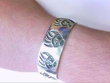 VERY Nice Vtg SS Navajo Hopi Cuff Bracelet. Rare Bear Claw/Man In Maze Design.