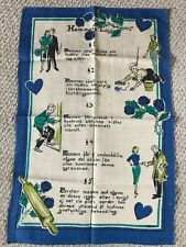 RETRO MCM Vintage Linen Tea Towel Swedish House Rules Husband Gets Schooled NEW