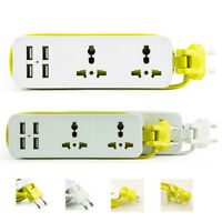 Portable Extension Socket Travel Power Strip Surge Protector 4 USB 2 Outlets New