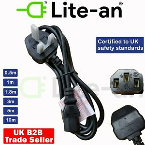 Power Cord UK Plug to IEC Cable PC Mains Lead 0.5m 1.8m 3m 5m 10m