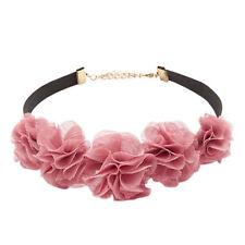 Blush Pink Spring Flowers Black Choker Boho Fashion Women Collar Necklace N511