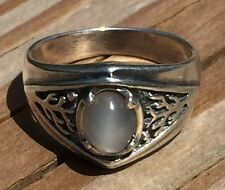 Celtic Tree of Life Ring .925 Sterling Silver Sz 12 w/ Natural Gray Moonstone