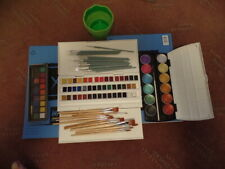 Watercolor supplies - Paper, Paints, Brushes and water cup