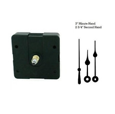 "Clock Movement Mechanism Quartex Kit with 3"" Black Spade Hands 1/2"" thick dial"