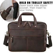 """Retro Men's Leather 15.6"""" Laptop Busniess Briefcase Messenger Shoulder Bag Tote"""