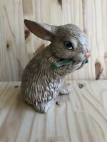 "Vintage Bunny Rabbit Hollow Ceramic Figurine Easter Decor Blue Eyes 6"" Tall"