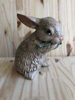 "Vintage Bunny Rabbit Hollow Ceramic Figurine Easter Decor Blue Eyes 6"" Tall"