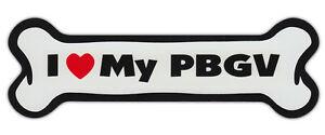 Dog Bone Shaped Car Magnets: I LOVE MY PBGV (PETIT BASSET GRIFFON VENDEEN)