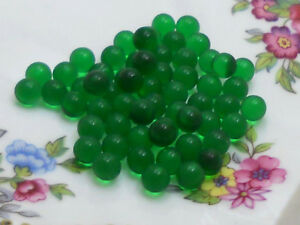 Vintage Glass Balls 5mm Eyes Emerald Round No Hole Marbles Solid NOS Green #668A