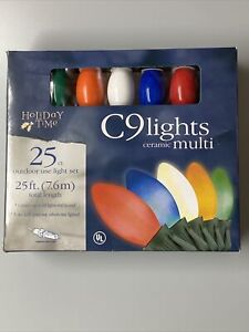 NEW - Holiday Time 25 Ft. MULTI COLOR CERAMIC Christmas C9 Lights