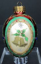 Handcrafted Glass Christmas Holiday Tree Ornament Bells Glitter Sparkle