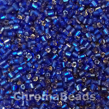 50g glass HEX seed beads - Deep Blue Silver-Lined - size 11/0 (approx 2mm) 2-cut