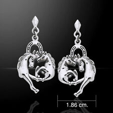 Horses with Horseshoe .925 Sterling Silver Earrings by Peter Stone