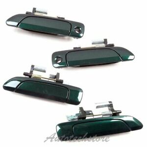 Set 4pcs Outside Door Handle For 01-05 Honda Civic Clover Green Pearl G95P DS185