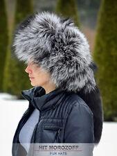 Premium SILVER FOX Fur Hat Russian Ushanka Trooper w/ Removable TAIL Silberfuchs