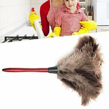 1x 35CM Ostrich Feather Duster Brush Anti-static Long Wooden Handle Home New SP