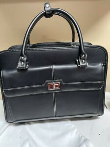 Samsonite Leather 💼 Business Womens Mobile Office Rolling Briefcase Carry-On