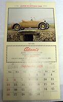 VINTAGE 1976 CALENDAR PAGE ALBUM OF ANTIQUE CARS 1920 BIDALE PRINT