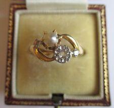 Splendide bague ancienne Toi et Moi XIXème - Diamant Perle - Or 18 carats 2,77g