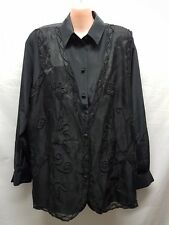 B I B ELEGANT BLACK  SHIRT WITH BEADED OVERLAY  SIZE 18 WEDDINGS SPECIAL EVENTS