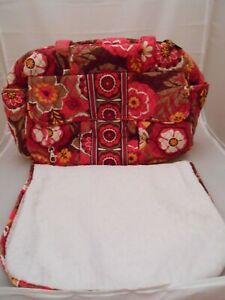 Vera Bradley Diaper Bag in 'Carnaby' Pattern, With Changing Pad, Floral, Zip-Up