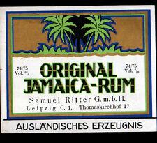"""ETIQUETTE Chromo ANCIENNEde RHUM / Samuel RITTER de LEIPZIG """"JAMAICA RUM"""""""