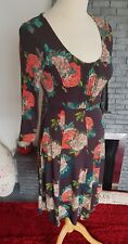 FAT FACE ~ Black Floral Patterned Jersey Style Dress ~  UK 10 ~ VGC