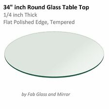 Glass Table Top: 34 inch Round 1/4 inch Thick Flat Polished Tempered