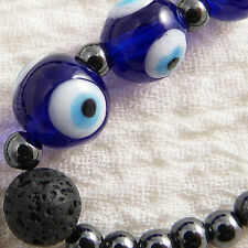 "5 glass lampwork blue evil eye beads 9x10mm, lava, hematite, 39 beads 7"" strand"