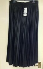 Zara Pleated Black Faux Leather Culotte Trousers Size XL