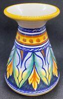 Vintage Sermat Deruta Signed Italian Pottery Handpainted Floral Flower Pot Vase