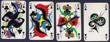 4 x Playing Cards Swap Card Vintage TARO Abstract Art Non Standard CLUBS COURTS