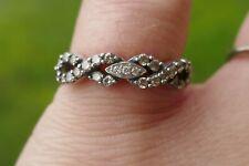 LeVian 14kt White Gold Chocolate & White Diamond Ring Infinity Style - Size 6.5