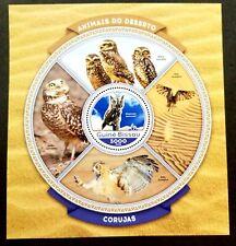 *FREE SHIP Guinea Bissau Bird Of Prey Owls 2016 Bird ms MNH *odd shape *unusual