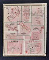 1876 Indiana Map Plan Charlestown Utica Hanover Salem Huntingburgh Henryville IN