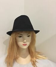 Black Fedora Trilby Gangster Detective hat /Costume/ Party