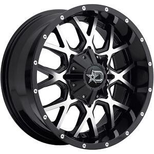 4 - 20x10 Black Machined Dropstars 645MB Wheel 8x170 -19 Offset 645MB-2108719...
