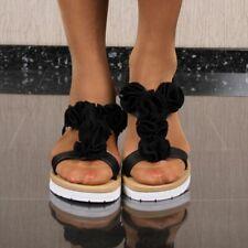Flache Mujer Sandalias de Tiras Con Flores Negro #38849