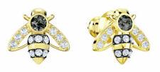 Swarovski Magnetic Bee Stud Pierced Women's Earrings - Grey, Yellow Gold Plated
