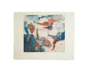 """Walter Sorge Signed """"Dancing Figures"""" Abstract Color Etching and Aquatint"""