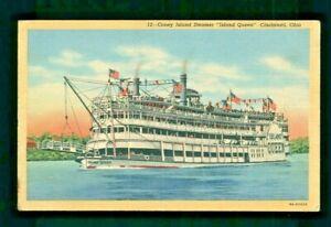 Postcard Coney Island Steamer, Island Queen on Ohio River in Cincinnati Ohio. X