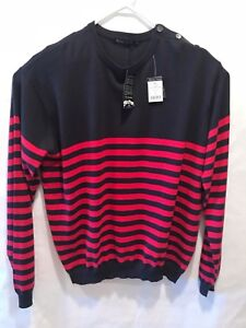 Woolovers Mens Sweater Cashmere Blend Crew Neck Solid Striped Navy Size US XL