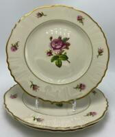 "Victoria (Federal Shape) by Syracuse 3 Salad Plates 8-1/8"" Roses Gold Trim USA"