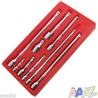 "9pc Socket Wobble Bar Extension Set 1/4"" 3/8"" 1/2"" Drive Garage Tool"