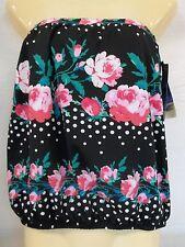 Gabar Size 10 Black Floral Bandini New Womens Swimwear Bikini Top